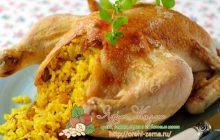 запеченная курица фаршированная рисом и грибами