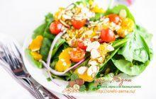 салат с шпинатом, грибами и миндалем