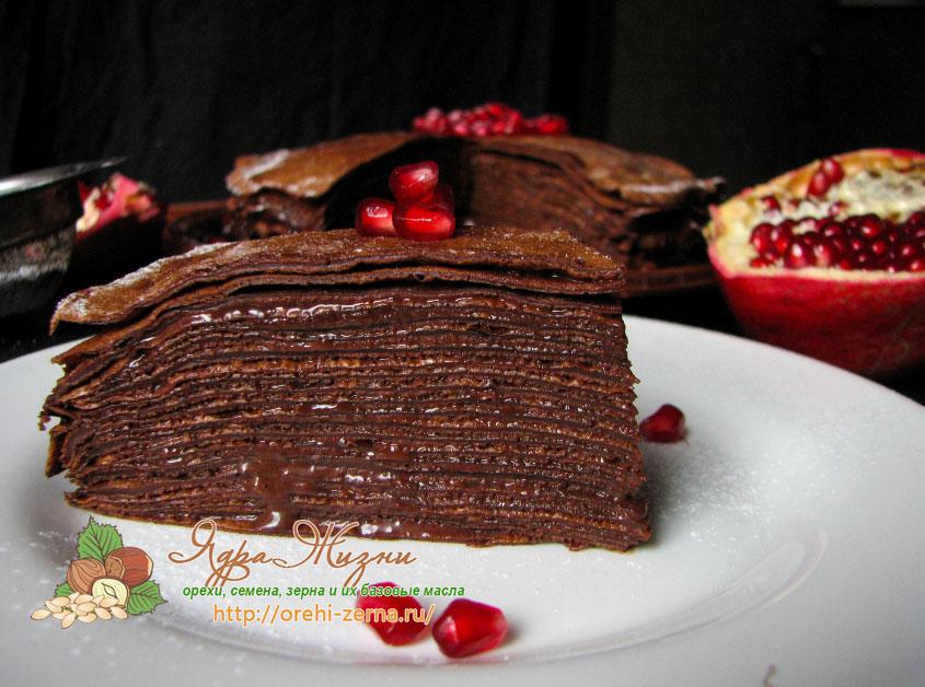 блинный торт из шоколадных блинов