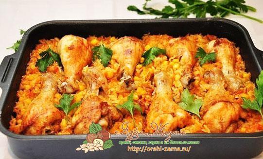 куриные окорочка с рисом в духовке