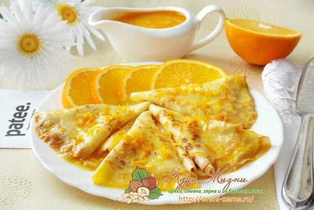 русские блины с апельсинами и рикоттой