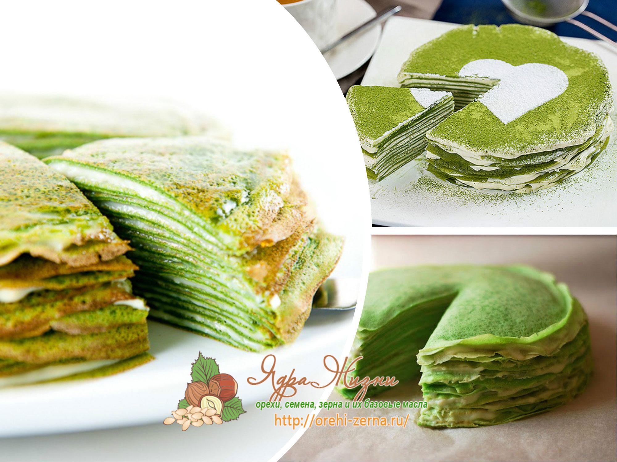 торт из зеленых блинов