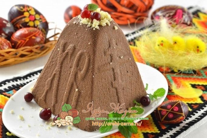шоколадная пасха с орехами