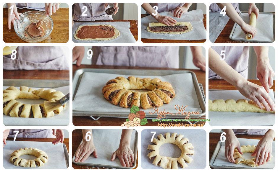 песочное кольцо с начинкой из шоколада
