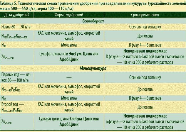 Таблица удобрений для кукурузы