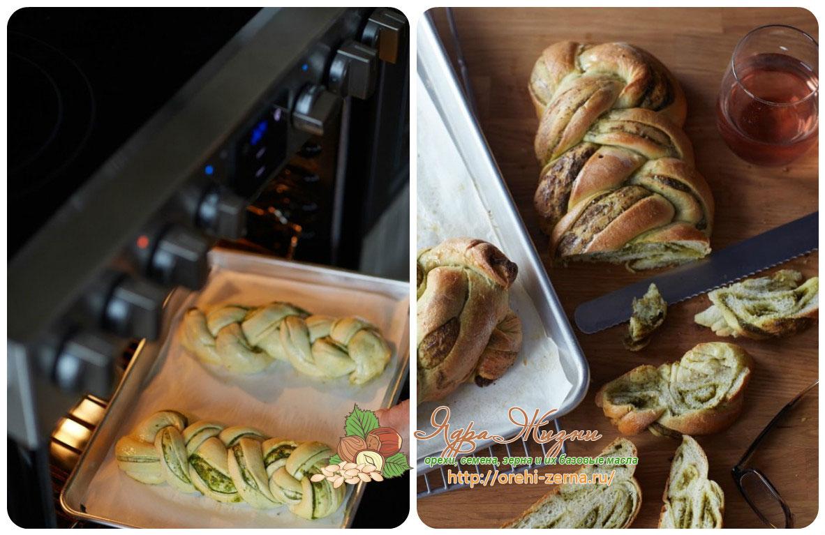 Плетеный хлеб с начинкой из шпината