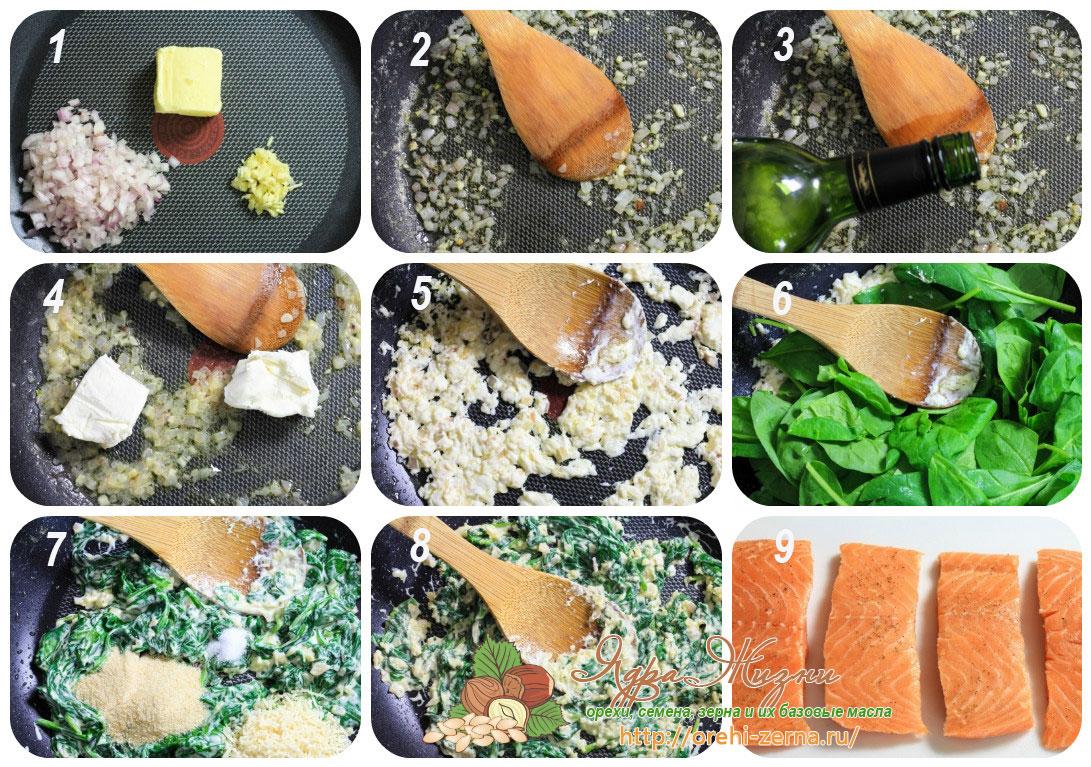 как приготовить начинку из шпината