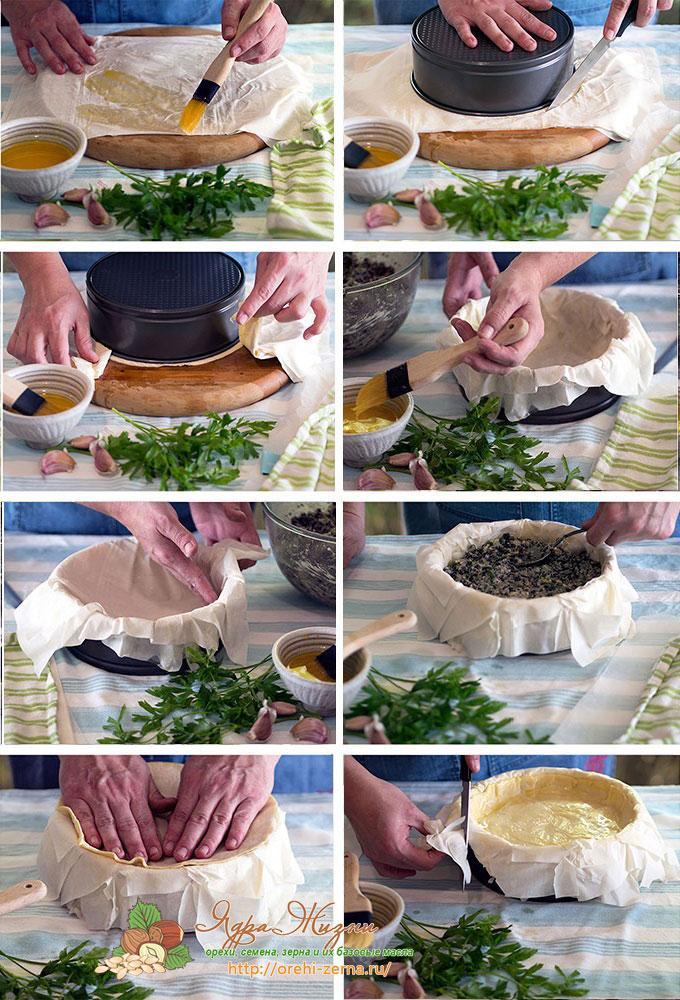 Фото: пирог из теста фило с начинкой из шампиньонов