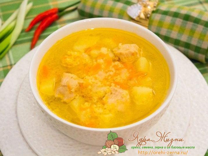 Суп с пшеном и мясом