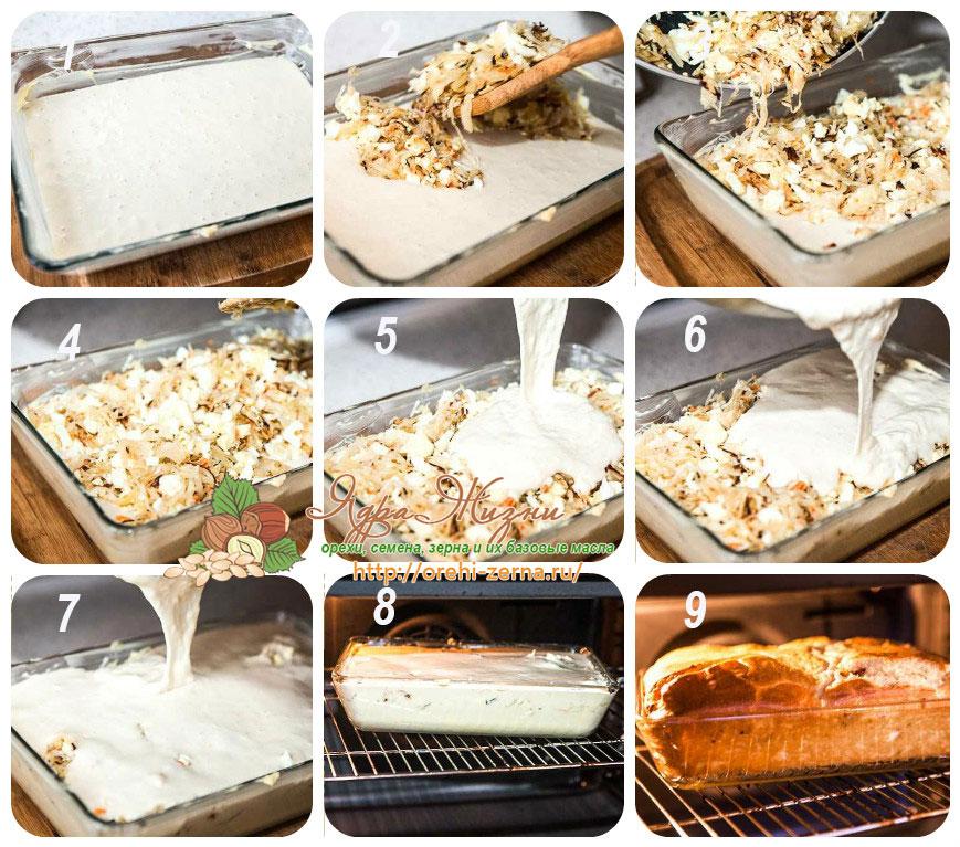 выпекание пирога с капустой