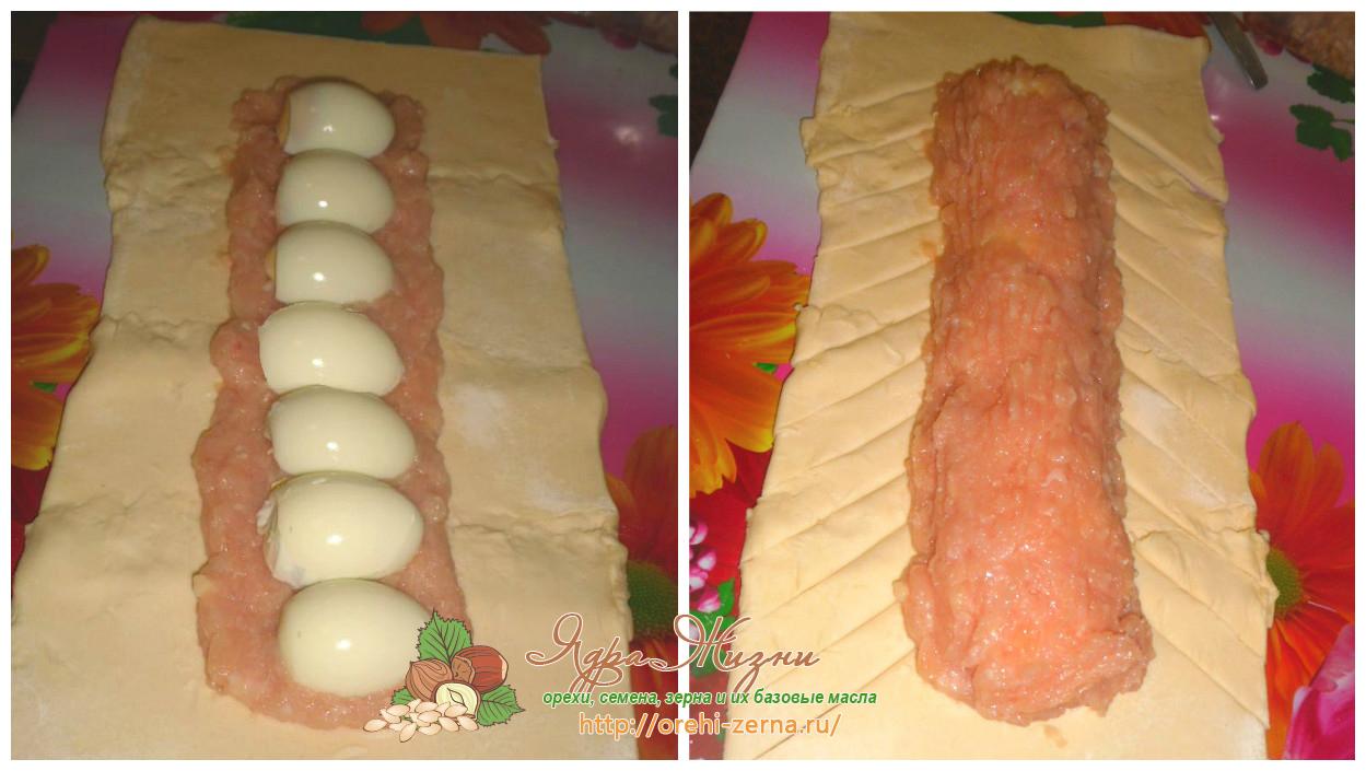 слоеный пирог с фаршем и половинками яиц