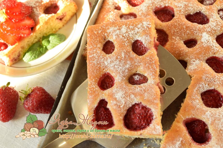 Рецепт пирога со свежей клубникой 110