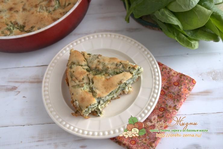 заливной пирог с творогом и шпинатом