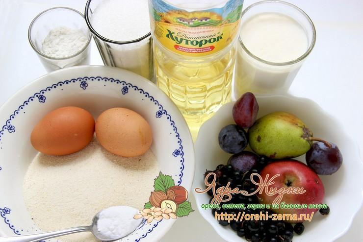 Манник с фруктами и ягодами: продукты