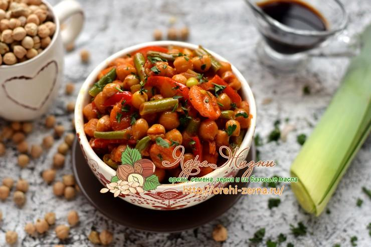 Тушеный нут с овощами в соевом соусе и томате: рецепт в домашних условиях