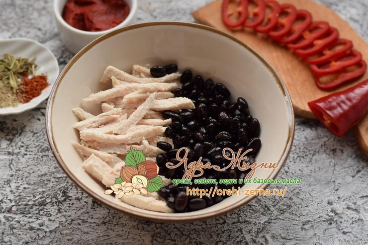 салат с фасолью и курицей рецепт в домашних условиях