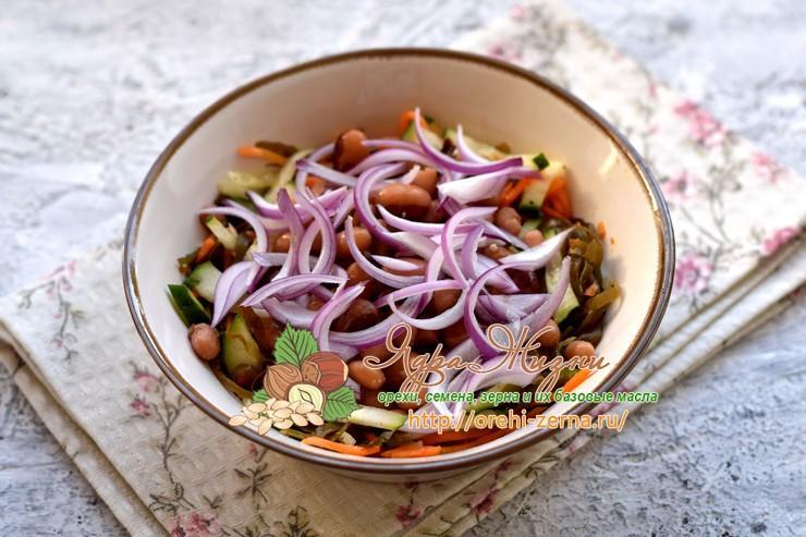 салат из морской капусты с фасолью рецепт