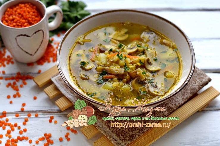 Постный суп из чечевицы с грибами: рецепт в домашних условиях