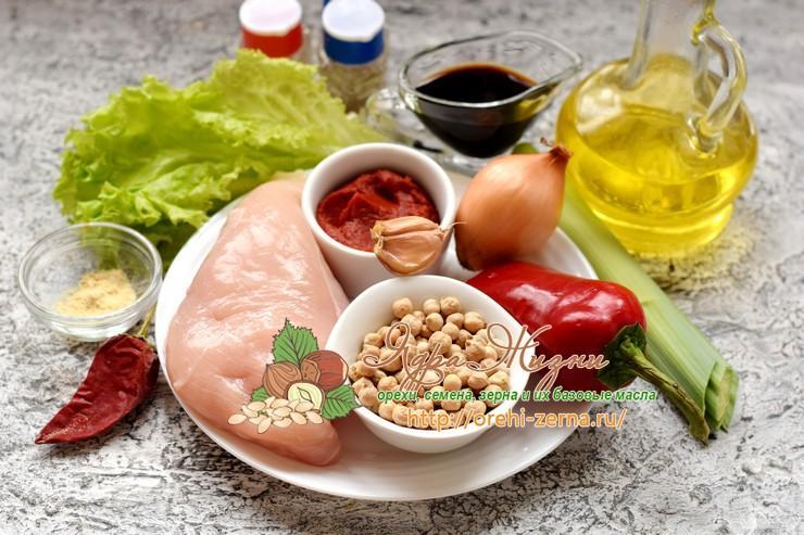 теплый салат с курицей и нутом