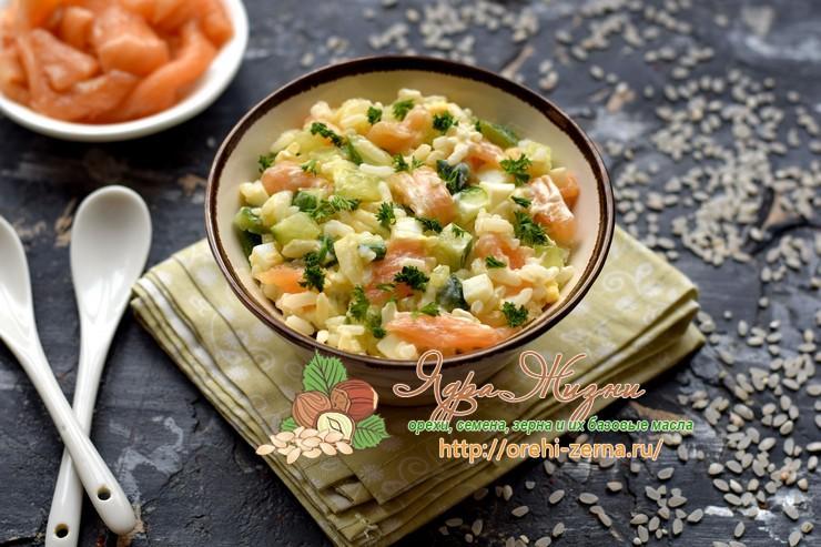 рисовый салат с лососем рецепт на праздничный стол