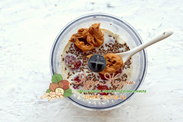 смузи с овсянкой, клубникой и арахисовой пастой рецепт в домашних условиях