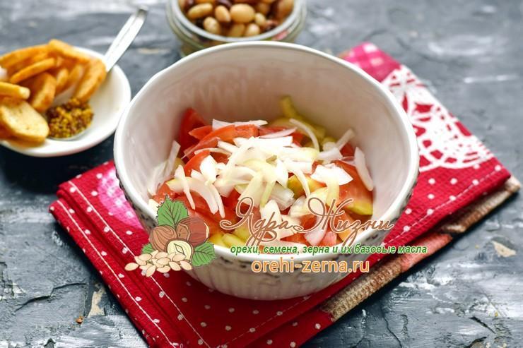 салат с фасолью и печенью рецепт приготовления