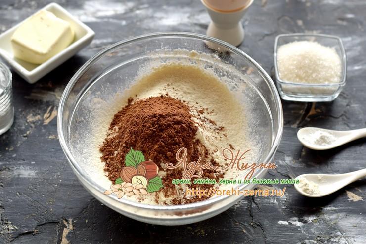 шоколадное печенье с какао рецепт