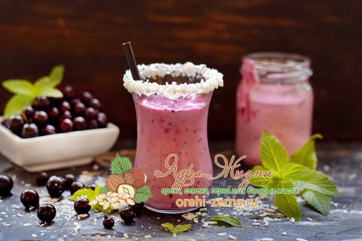 Смузи с кокосовым молоком, черной смородиной и мороженым рецепт в домашних условиях