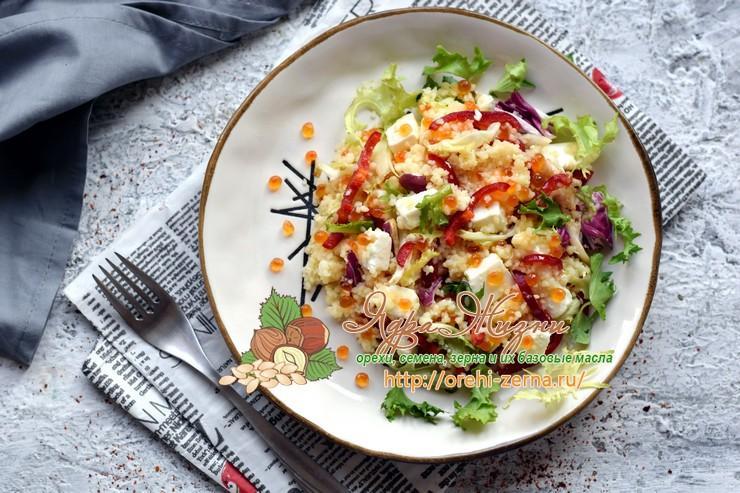 Салат с красной икрой и кус-кусом на праздничный стол: рецепт в домашних условиях