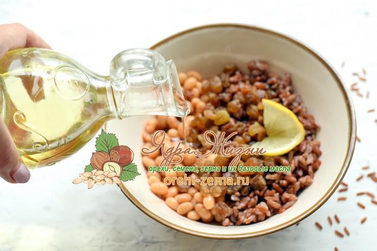 Салат с красным рисом, фасолью и изюмом рецепт приготовления