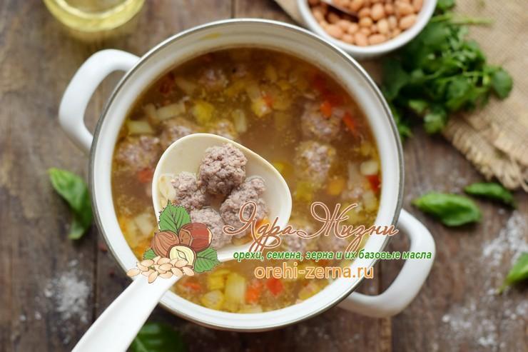 суп с фрикадельками и фасолью рецепт пошагово