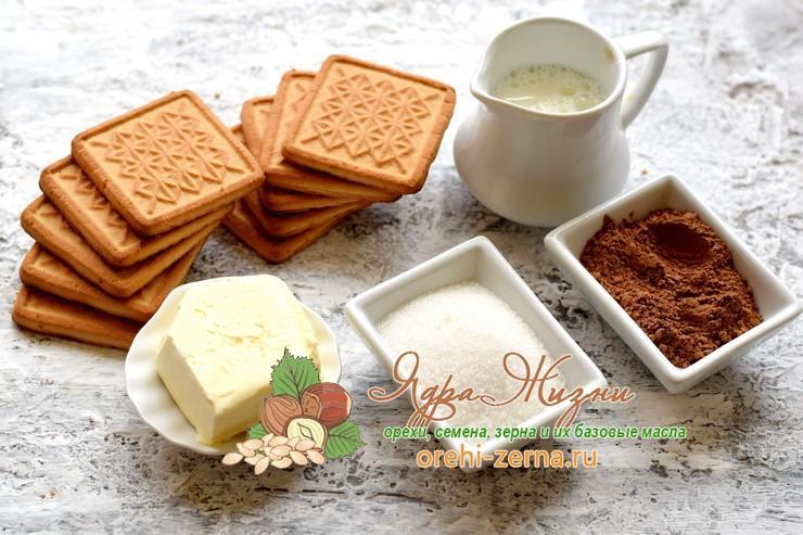 шоколадная колбаса из печенья и какао