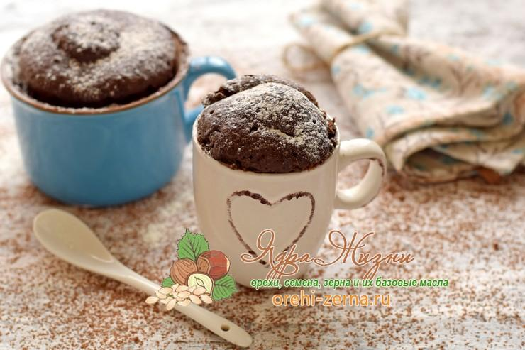 Шоколадный кекс с какао в микроволновке за 5 минут в чашке: рецепт в домашних условиях