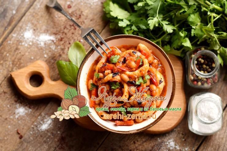 кальмары с фасолью пошаговый рецепт в домашних условиях