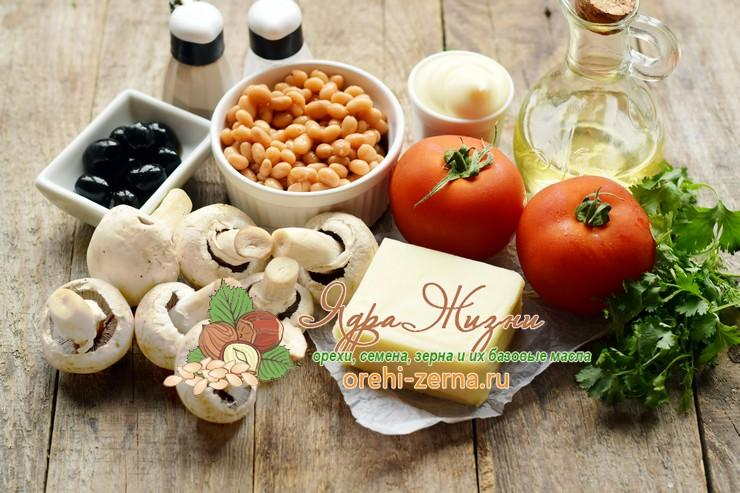 Салат с консервированной фасолью и грибами: фото рецепт