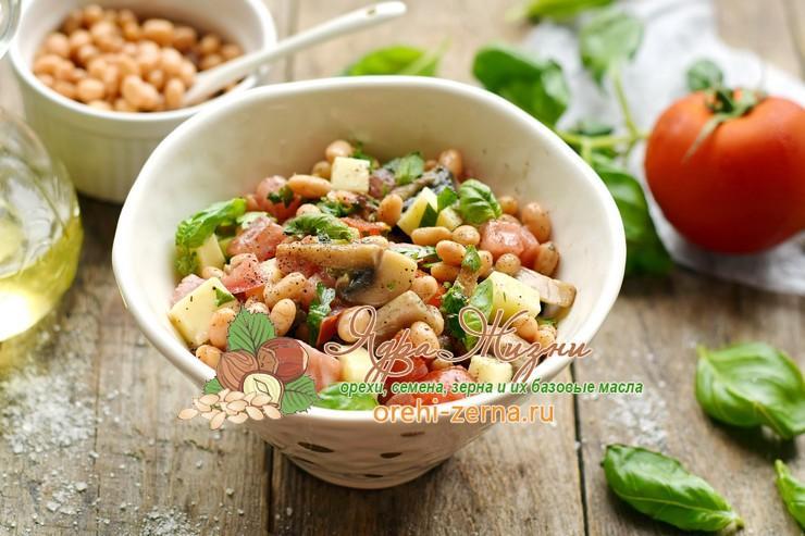 Салат с консервированной фасолью и грибами пошаговый рецепт в домашних условиях