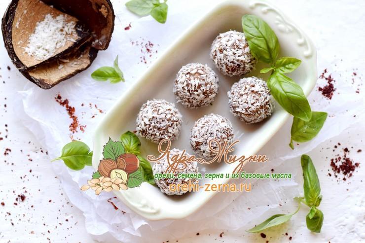 шоколадные конфеты с финиками и кокосовой стружкой рецепт в домашних условиях
