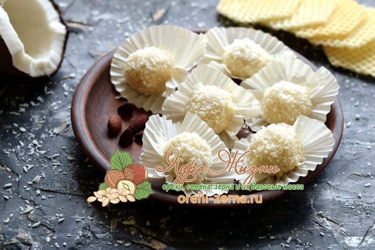 Конфеты рафаэлло из сгущенки с кокосовой стружкой рецепт в домашних условиях