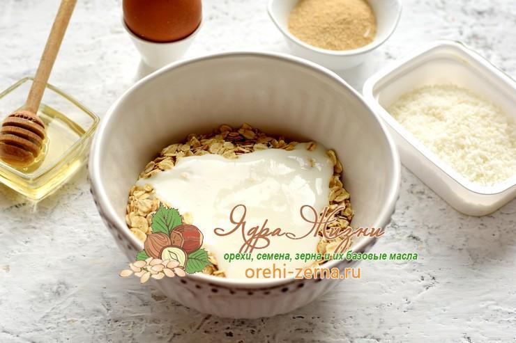 Овсяное печенье на кефире с кокосовой стружкой