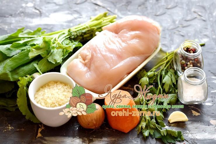 Рисовый суп с фрикадельками и щавелем