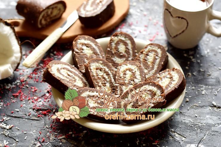 шоколадный рулет из печенья с кокосовой стружкой рецепт в домашних условиях