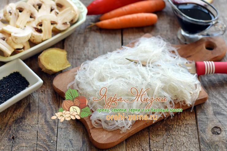 фунчоза с грибами и овощами рецепт