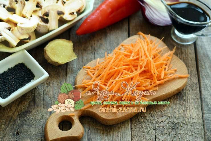 фунчоза с грибами и овощами рецепт с фото