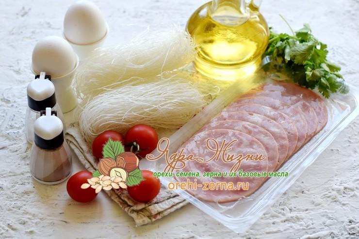 салат из фунчозы с ветчиной