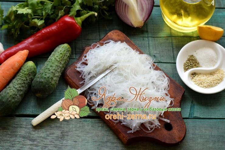 салат с фунчозой и овощами по-корейски рецепт с фото