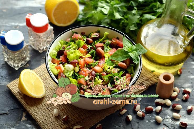 Салат с фасолью и помидорами с зеленью на праздничный стол: рецепт приготовления